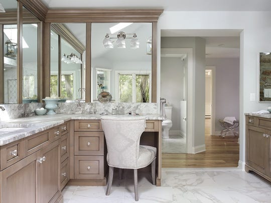 A master bathroom in Franklin Lakes designed by Aparna