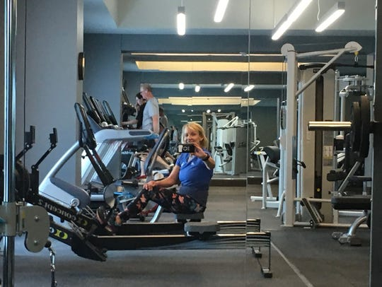 Kirby Adams in the fitness room at the Omni Louisville