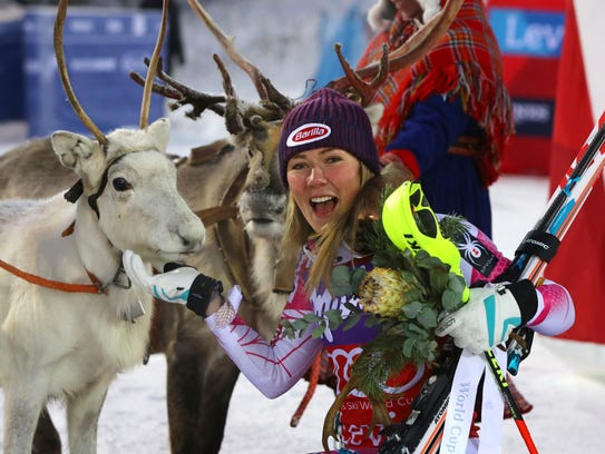 In this Nov. 12, 2016 photo, first placed Mikaela Shiffrin