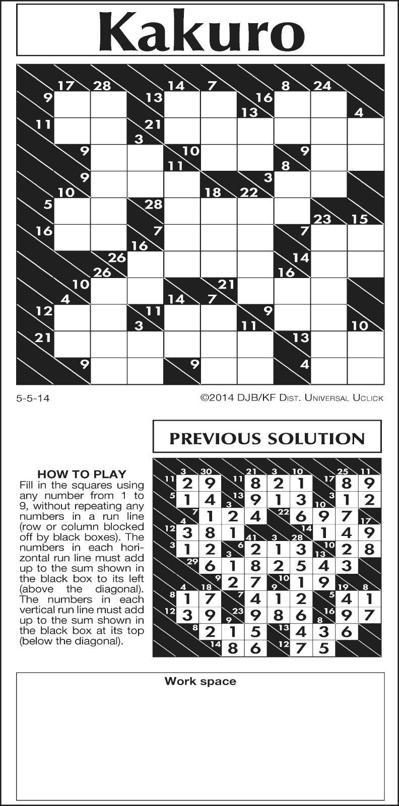 photograph relating to Kakuro Printable named Mondays dropped Kakuro puzzle