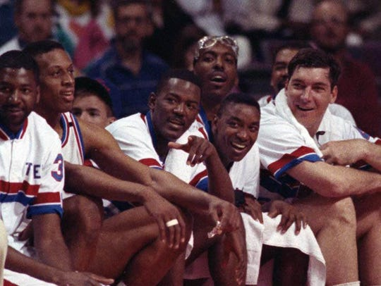 Left to right: Dennis Rodman, Joe Dumars, Isiah Thomas,