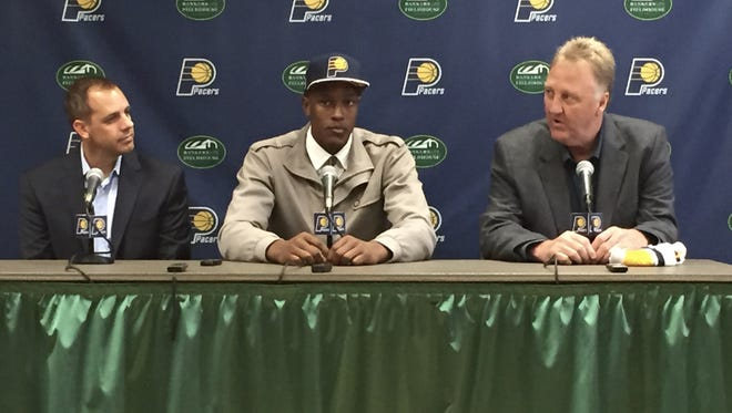 The Indiana Pacers officially introduced first-round draft pick Myles Turner in a press conference at Bankers Life FIeldhouse on June 26, 2015.