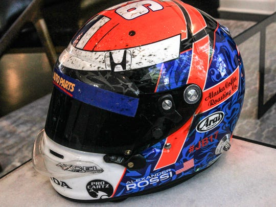 2016 Indy 500 winner Alexander Rossi shows off the helmet he wore when he won the race. May 8, 2017.