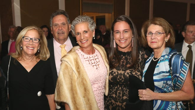 Nancy Sumas (left), a breast cancer survivor, was one of the 12 women who comprised the original organizing committee for Susan G. Komen North Jersey in 1997. Her mother and her two sisters are also survivors, and her husband John Sumas lost his mother to the disease. Left to right:  Nancy Sumas, John Sumas, her sister Alberta D'Addio (survivor), her niece Alyssa Bialko, and Anne Schaumburg at the Komen North Jersey 2017 Pink Tie Party.