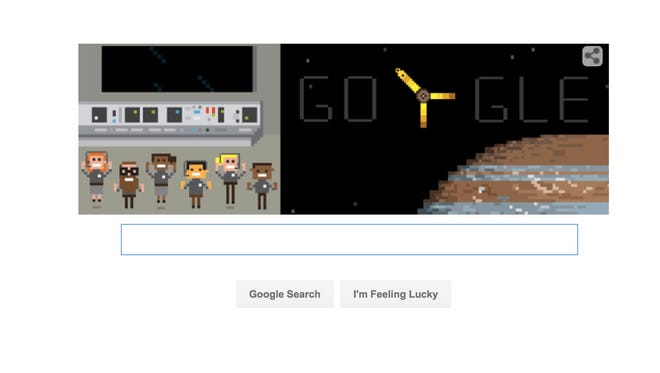 The landing page for Google's search site, celebrating the insertion of NASA's Juno probe into Jupiter's orb on Monday, July 4, 2016.