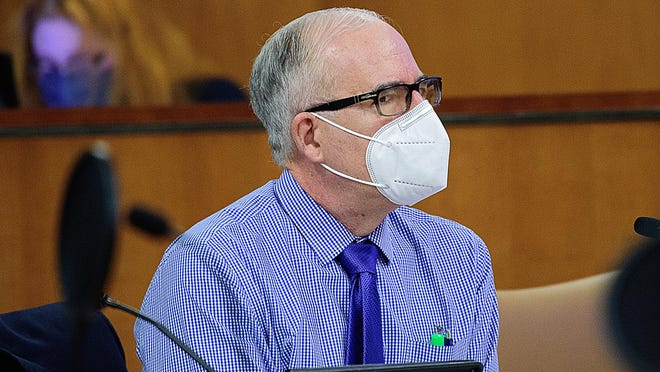 In this St. Augustine Record file photo, St. Johns County Attorney Patrick McCormack wears a mask during a County Commission meeting in the county administration building in St. Augustine.