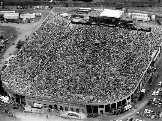 About 30,000 people showed up to listen to Journey perform at Holleder Stadium in 1983.
