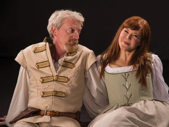 """Ben Livingston plays Benedick and Kim Martin-Cotten plays Beatrice in the Utah Shakespeare Festival's 2016 production of """"Much Ado about Nothing."""""""