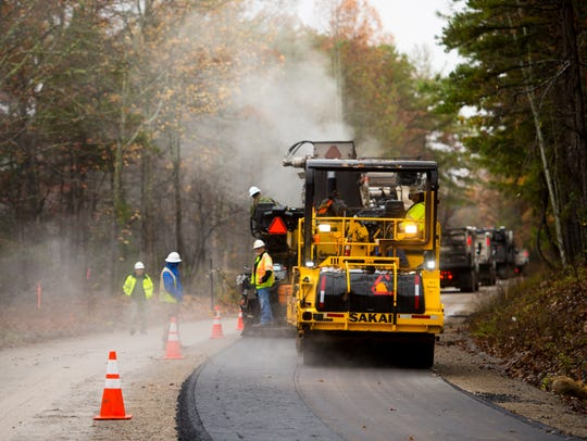 Paving operations are underway at the unfinished portion