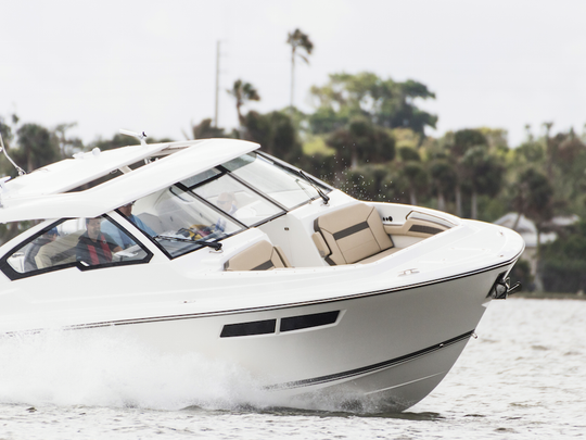 The award-winning Pursuit DC 365 dual console boat is one of several models built at the company's Fort Pierce plant.
