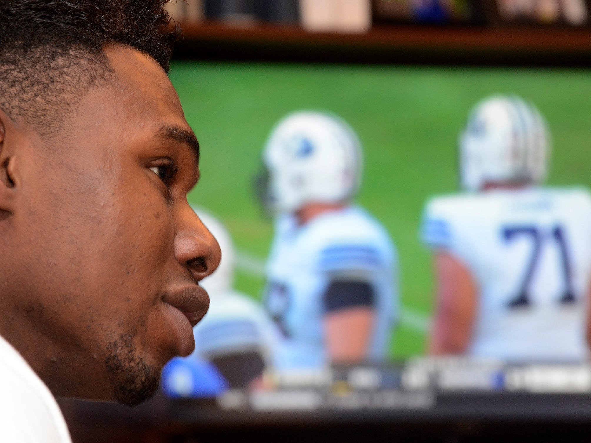 Prince Tega Wanogho Junior at the home of his sponsor family, the Taylors, in Montgomery, Ala. on Monday December 23, 2014. The Edgewood Academy foreign exchange student from Nigeria played football for the first time four months ago and is now being offered scholarships from Division I schools all over the country.