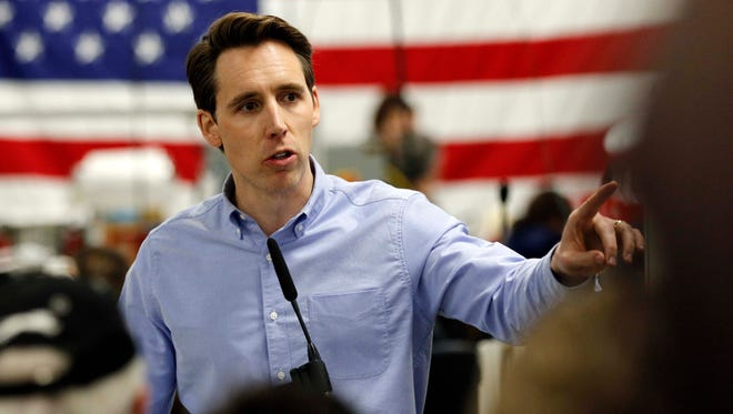 Josh Hawley launches his campaign for the U.S. Senate at Positronic in west Springfield on March 13, 2018.