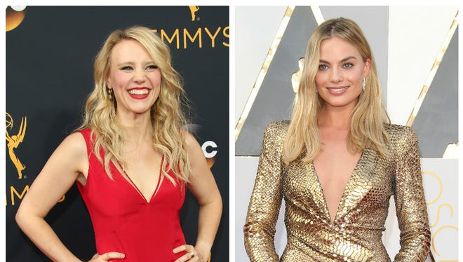 Kate McKinnon (left) is good at getting 'SNL' hosts, like Margot Robbie (right), to break character.