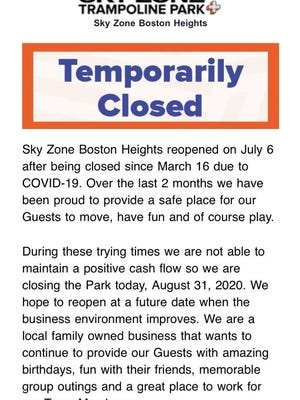 Sky Zone Boston Heights notified customers Monday that it is closing for daily operations amid the coronavirus.