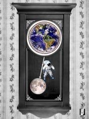 """Time Traveler"" by digital collage artist Elyana Shamselangeroodi"