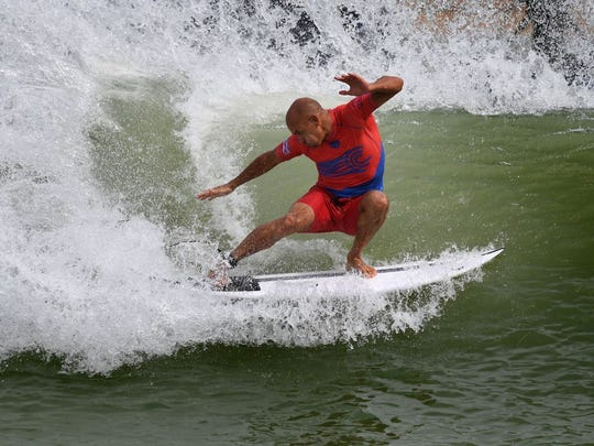 Kelly Slater of the US does a cutback during the final of the WSL Founders' Cup of Surfing, at the Kelly Slater Surf Ranch in Lemoore, California on May 6, 2018.