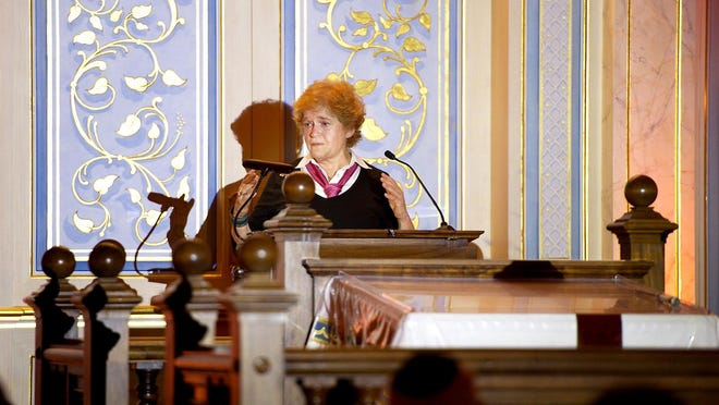 """Historian Deborah Lipstadt talks about anti-Semitism during the Jewish Federation of Palm Beach County's Jewish Community Relations Council discussion at the Palm Beach Synagogue on Wednesday. """"Anti-Semitism is irrational, it is a prejudice, """" said Lipstadt."""