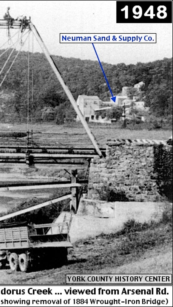 A view, looking northward along the Codorus Creek, when standing on the newly built 2-lane Arsenal Road bridge. The September 1948 photo was taken to show the removal of the single-lane 1884 Wrought-Iron Bridge, just downstream; however the Neuman Sand & Supply Company plant can be pointed out in the background.