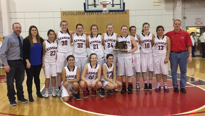 The Kennedy High girls basketball team places third in the 2A state tournament.