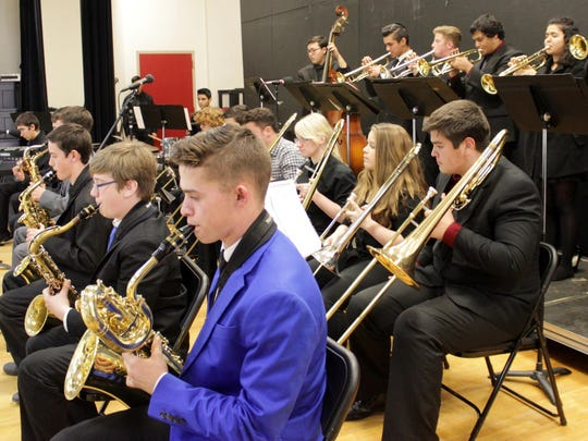 Members of El Diamante High School's jazz band performs at the Mid-Valley Jazz Festival at Cherry Avenue Middle School in Tulare.