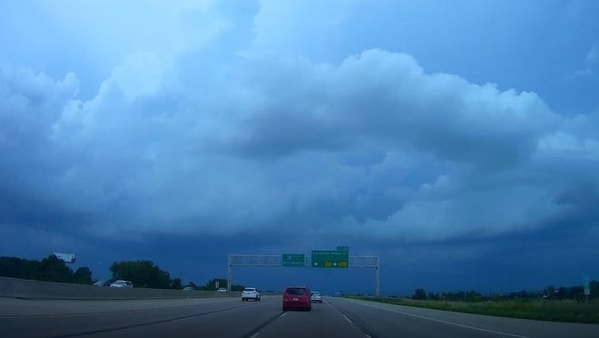 A picture from Jeff Klopfenstein's dash camera as he headed into Ankeny Saturday evening.