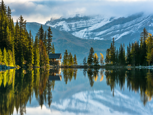 The Lake Agnes Tea House is perched at 7,005 feet above
