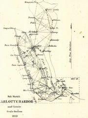 This 1859 U.S. Coast Survey of Charlotte Harbor  shows the place names of Kennedy, where the trading house was, as well one for Darling.