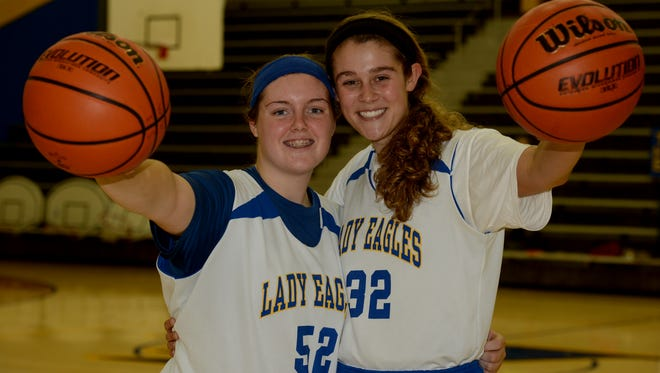 Lincoln High School girls basketball players Kerrigan Neff, left, and Kylei Klein Friday Nov. 6, 2015 in Cambridge City.
