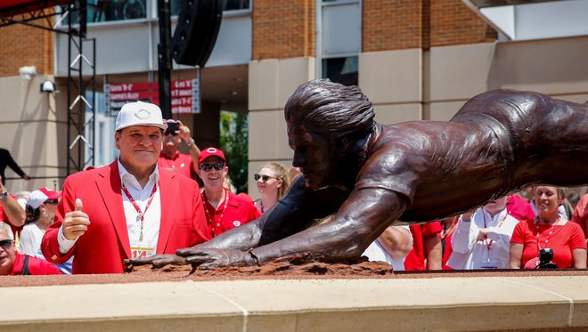 "Pete Rose: If there's one person that comes to mind when you think about Cincinnati Reds baseball, it's Pete Rose. Born and raised in Cincinnati, Rose grew up to become the all-time MLB leader in games played, at-bats, singles, outs and hits, the latter of which earned him the title ""Hit King."" He was banned from baseball in 1989 amidst accusations he gambled on baseball games, and is therefore (and infamously) banned from the Baseball Hall of Fame ."