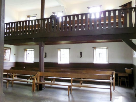"""The meeting house interior of the Ephrata Cloister, pictured in May. Adherents to the """"holy experiment"""" had six hours of sleep a night, interrupted once for a worship service in the meeting house."""