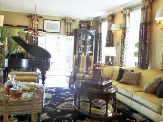 Harrisburg Symphony Orchestra's 'showhouse' at Lindenwood has a sunken living room decorated by Davids Furniture and Interiors, Mechanicsburg.
