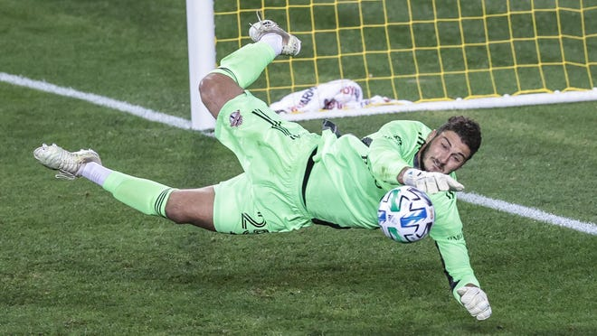 Toronto FC goalkeeper Alex Bono makes a save during a September match against New York City FC. The veteran could be one of the players Austin FC officials consider selecting in this month's MLS expansion draft.