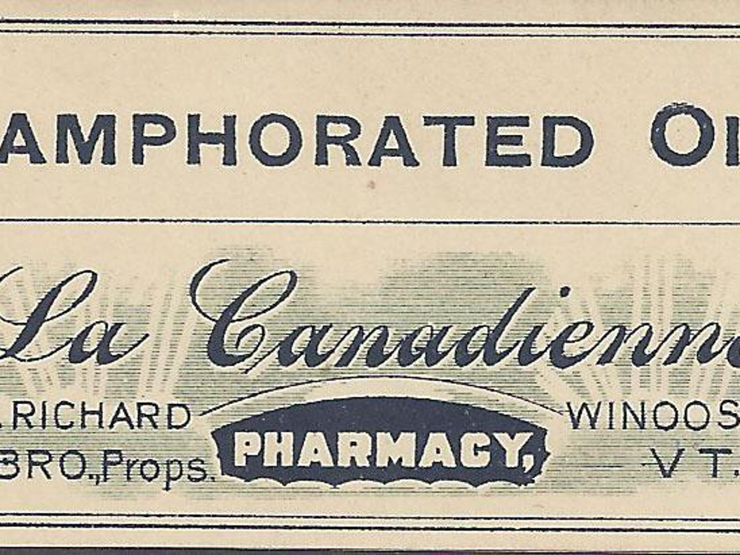 Bottle label from Oliva Richard's Pharmacy in the Winooski