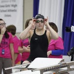 Ankeny's Lizzie Doering gets ready to swim the 50 freestyle during the state meet on Nov. 7 at Marshalltown. Doering has been named the team's Most Valuable Swimmer after leading the Hawkettes to a fifth-place finish at the state meet.