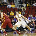Northern Iowa center Ted Friedman, a freshman from Ankeny, defends Iowa State's Georges Niang during the Big Four Classic on Dec. 7 at Wells Fargo Arena. Friedman helped the Panthers to a 42-29 halftime lead, but Iowa State rallied for a 91-82 victory in overtime.