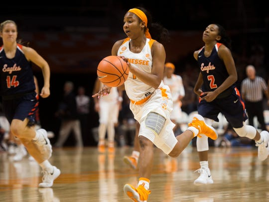 Tennessee guard Anastasia Hayes (1) drives down the court during Tennessee's exhibition opener against Carson-Newman at Thompson-Boling Arena on Tuesday, Nov. 7, 2017.