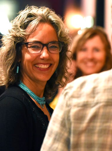 Kathleen Williams, a candidate for the Democratic nomination to U.S. House, attends a primary watch party Tuesday evening, June 5, 2018, in Bozeman, Mont. (Rachel Leathe/Bozeman Daily Chronicle via AP)