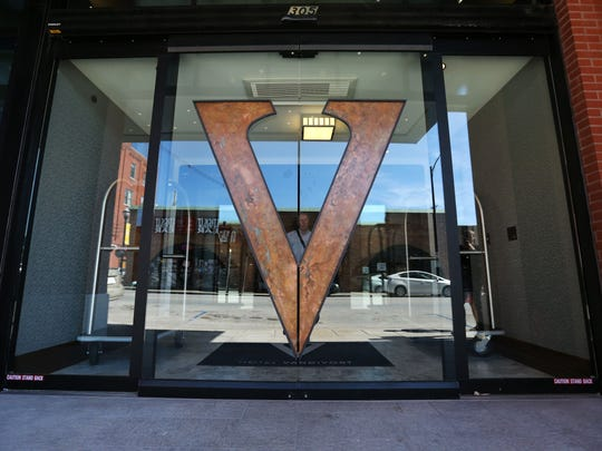 The logo of the Hotel Vandivort, features negative space, a nod to the building's original purpose as a Masonic temple.