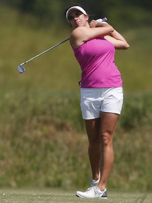 Gerina Piller, watching her tee shot at the Yokohama Tire Classic on May 7 in Prattville, Ala., was in Detroit on Monday to talk up the sport.