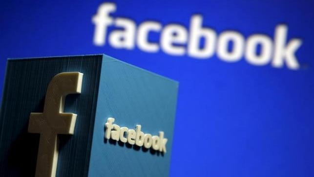 Facebook logos are shown in this undated photo.