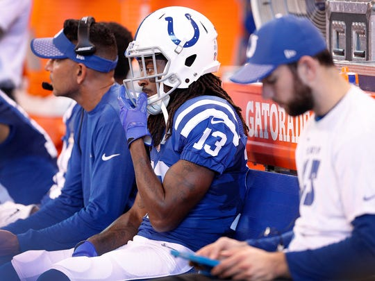 Indianapolis Colts wide receiver T.Y. Hilton (13) sits on the bench in the second half of their game at Lucas Oil Stadium, Sunday, Oct 22, 2017. The Colts lost to the Jacksonville Jaguars 27-0.