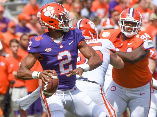 Clemson quarterback Kelly Bryant (2) in Memorial Stadium in Clemson on Saturday, April 14, 2018.