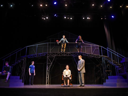 """Cast members perform a scene during a dress rehearsal for """"Next to Normal"""" Tuesday, Nov. 7, at the College of St. Benedict in St. Joseph."""