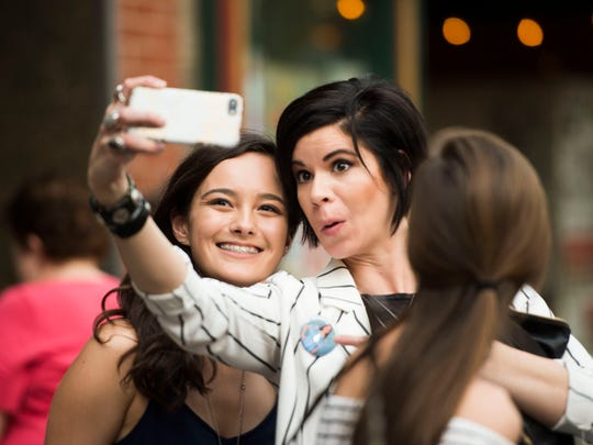 Farragut's Katie Lin poses for a photo with Valerie Tippitt at the CTE goes Live performance in Market Square Friday, May 4, 2018.
