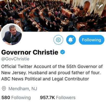 A screenshot of former Gov. Chris Christie's Twitter