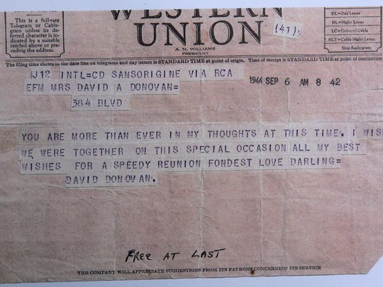 A 1944 telegram from U.S. Army Corps First Lieutenant David Donovan before he returned home, to his wife, Teresa.