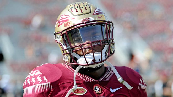 Florida State Seminoles running back Cam Akers (3) before the game at Doak Campbell Stadium.