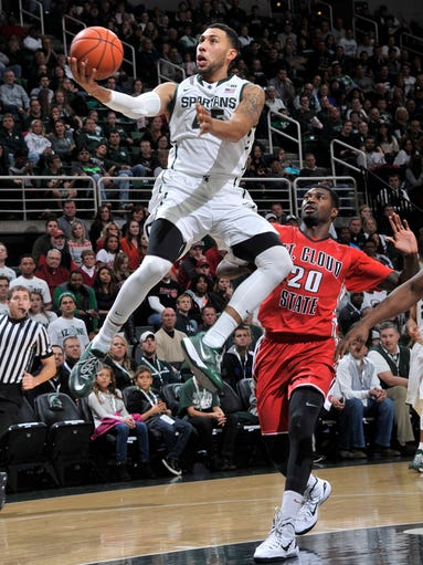 Michigan State's Denzel Valentine is all alone on a