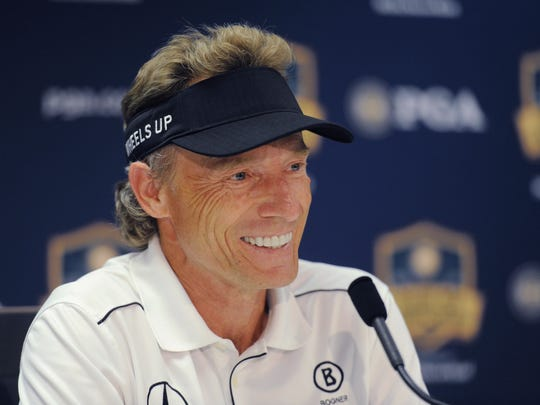 Bernhard Langer speaks to reporters Wednesday, May 25, 2016, during practice rounds of the Senior PGA Championship golf tournament at Harbor Shores, in Benton Harbor, Mich.