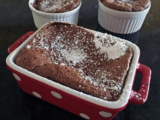 This chocolate souffle has the added benefit of being gluten-free.